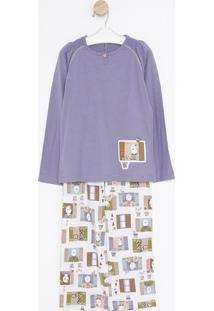 Pijama Manga Longa Com Abertura & Calã§A- Lilã¡S & Brancosonhart