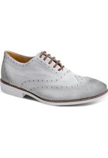 Sapato Masculino Casual Brogue Sandro & Co Pompéia - Masculino-Cinza