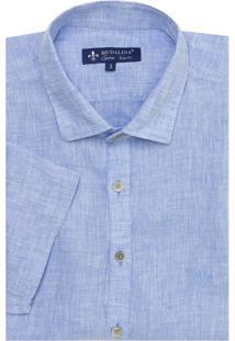 Camisa Dudalina Puro Linho Fio Tinto Masculina (Azul Medio, 5)