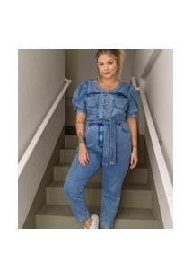 Macacão Jeans Com Mangas Bufantes Curve & Plus Size | Ashua Curve E Plus Size | Azul | 52