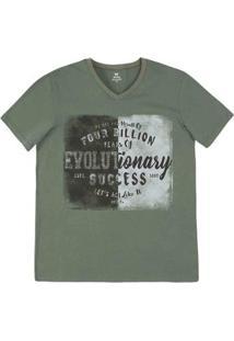 Camiseta Masculina Slim De Algodão Com Decote V Estampada