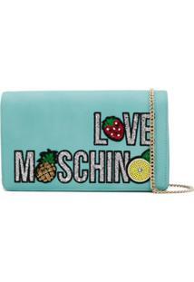 Love Moschino Clutch Com Paetês - Azul