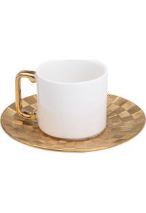 Conjunto 6 Xícaras Para Café Com Pires De Porcelana Wolff 80Ml – Vera Gold