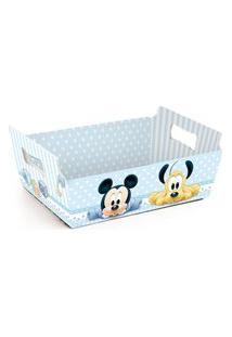 Cesta Caixote Organizadora Papel Mickey Disney Festa C/10