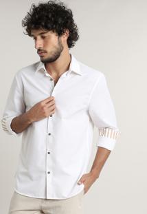 Camisa Masculina Comfort Fit Manga Longa Off White