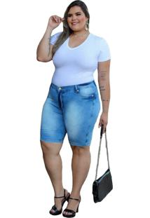 Bermuda Jeans Com Licra Plus Size Feminina Azul Claro - Bronze - Feminino - Dafiti