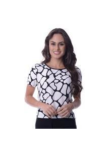 Blusa Estampada Recorte Costas Branco