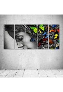 Quadro Decorativo - Women Abstract Butterfly - Composto De 5 Quadros - Multicolorido - Dafiti