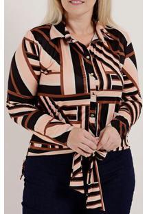 Camisa Manga Longa Plus Size Feminina Autentique Preto/Salmão