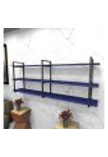 Estante Estilo Industrial Sala Aço Cor Preto 180X30X68Cm (C)X(L)X(A) Cor Mdf Azul Modelo Ind33Azsl