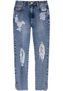 Calça Jeans Feminina Com Tule Lethicia Bronstein