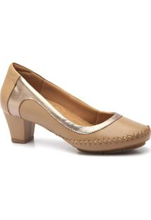 Scarpin Couro Doctor Shoes 787 Salto Grosso Feminino - Feminino-Bege
