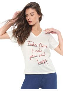Camiseta Morena Rosa Lettering Bege