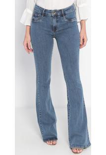 Jeans High Flare Com Bolsos- Azul- Lança Perfumelança Perfume