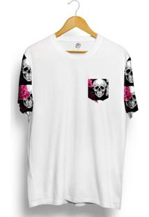 Camiseta Bsc Raglan Skull Pink Rose - Masculino-Branco