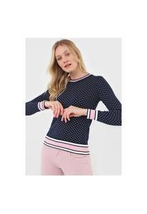 Tricô Blusa Pink Tricot Manga Longa Modal Estampa Poá Azul Marinho