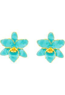 Brinco Mini Flor Orquídea Verde Água Banhado A Ouro 18K