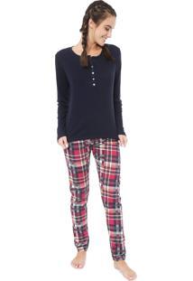 Pijama Laibel Xadrez Azul-Marinho/Vermelho