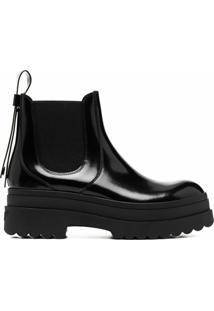 Red(V) Ankle Boot De Couro Envernizado - Preto