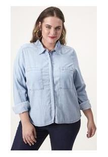 Camisa Jeans Com Tachas Curve & Plus Size