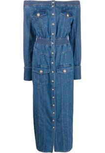 Balmain Off-The-Shoulder Buttoned Denim Dress - Azul