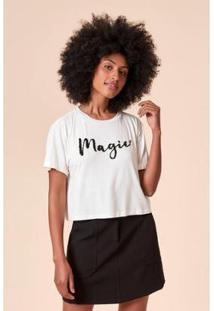 T-Shirt Tvz Estampada Magic Bordado Feminina - Feminino-Branco