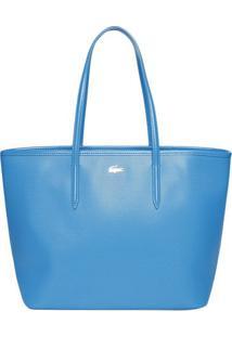 Bolsa Texturizada Em Couro- Azul Claro- 28X44X16Cm
