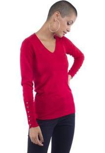 Blusa Pop Me Tricô Decote V Detalhe Botões Feminina - Feminino-Vermelho