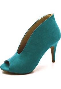 Sapato Scarpin/ Abotinado Toretto Camurça Jade.