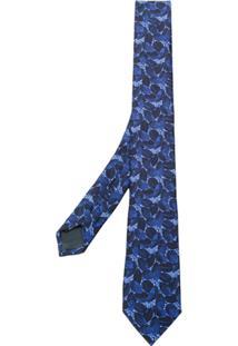 Z Zegna Gravata Bordada Floral - Azul