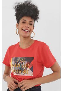 Camiseta Cantã£O Fill Your Life Vermelha - Vermelho - Feminino - Algodã£O - Dafiti