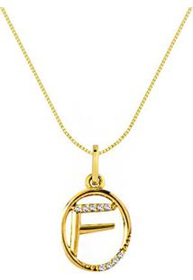 Pingente Letra F Ouro Amarelo E Diamantes 15 Mm