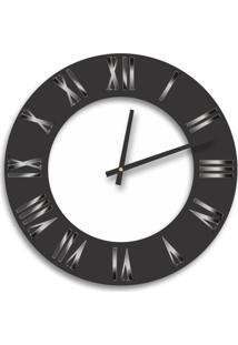 Relógio De Parede Premium Preto Ônix Com Relevo Em Acrílico Espelhado Prata E Branco 50Cm Grande