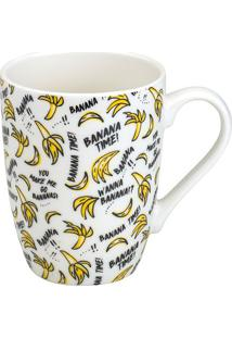 "Caneca ""Banana Time""- Branca & Amarela- 330Ml- Rrojemac"