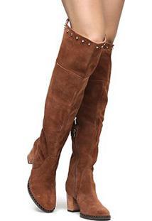Bota Couro Shoestock Over The Knee Vira Cravos Feminina - Feminino-Caramelo