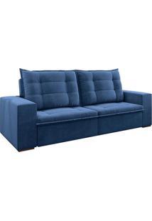 Sofá 3 Lugares Retrátil E Reclinável Ariel Veludo Azul Marinho