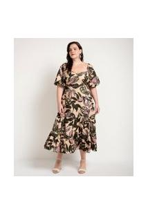 Vestido Estampado Em Tricoline Com Maria Curve E Plus Size Bege