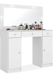 Penteadeira Lunara Com Espelho Led - 03 Gavetas E 02 Portas, Padrao - 03 - Branco