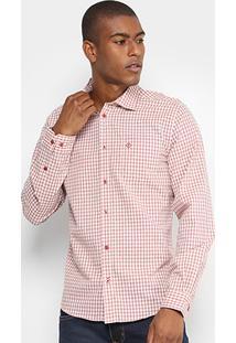 Camisa Forum Ml Classica Vichy Bolso Masculina - Masculino-Vermelho