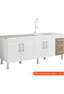 Balcão De Cozinha Flex 4 Pt 3 Gv Branco E Carvalho
