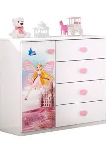 Cômoda Infantil Carruagem Branco/Rosa - Móveis Estrela