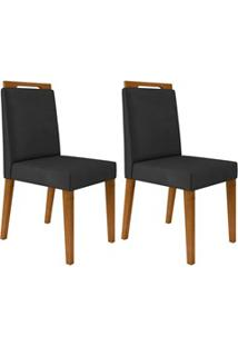Kit 2 Cadeiras Estofadas Para Sala De Jantar Alana N04 Cinza Lux/Ipê -