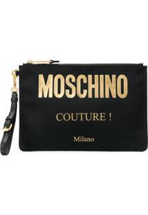 Moschino Clutch Com Logo - Preto