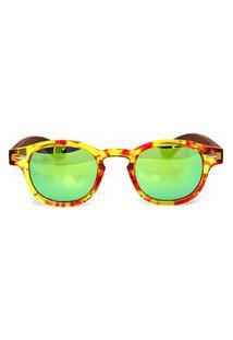 Óculos De Sol De Acetato Com Madeira Riina Flower - Amarelo E Marrom - Único Amarelo