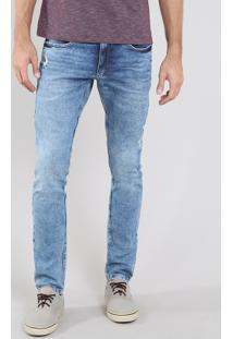 Calça Jeans Masculina Slim Com Puídos E Bolsos Azul Médio