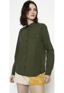 Camisa Lisa Com Bolso - Verde - Sommersommer