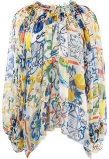 Dolce & Gabbana Blusa De Seda Com Babado - Branco