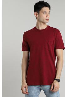 Camiseta Masculina Básica Mescla Com Bolso Manga Curta Gola Careca Vinho