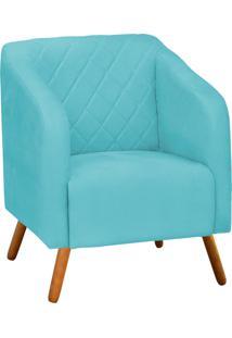 Poltrona Decorativa Silmara Suede Azul Tiffany Pés Palito - D'Rossi