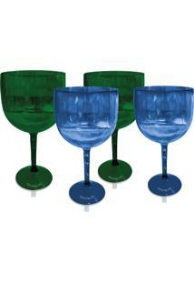 Kit 4 Taças Gin Verde E Azul Translúcido Acrílico Ps Krystalon
